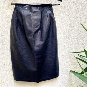 Vintage Leather pencil skirt (Navy)